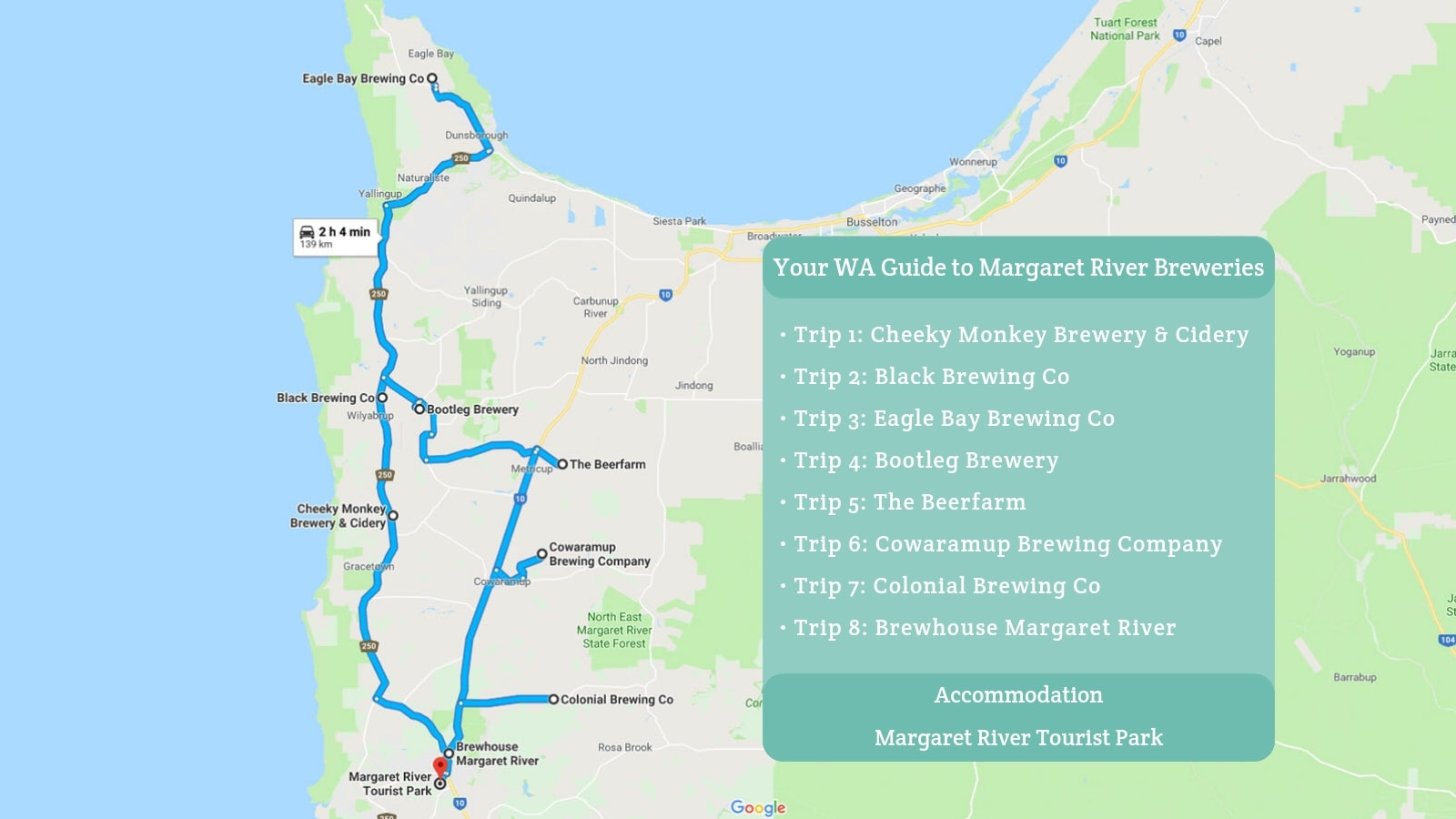 Margaret River Map Your WA Guide to Margaret River Breweries | Copper & Oak