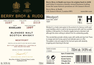 Berry Bros & Rudd Dram Full Cask 3287 Westport 21 Year Old 7